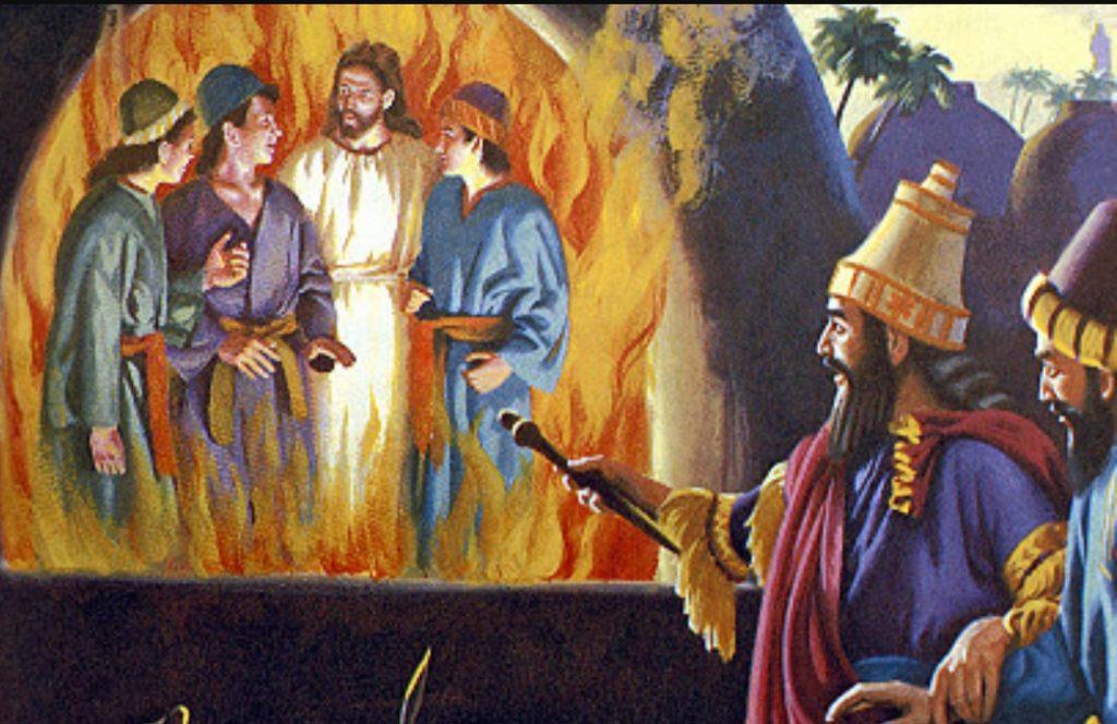 Shadrach nella fornace con Nebuchadnezzar. Anania nella fornace con Nabucodonosor