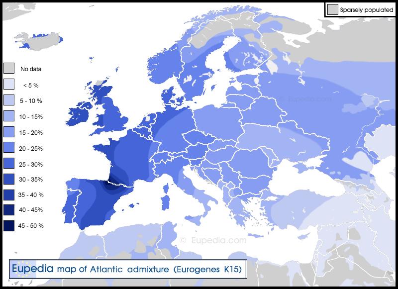 mappa componente atlantica eurogenes k15