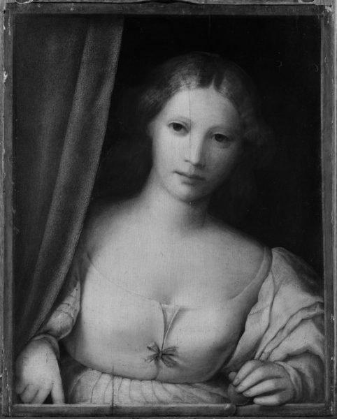 Donna alla finestra prima del restauro, XV secolo