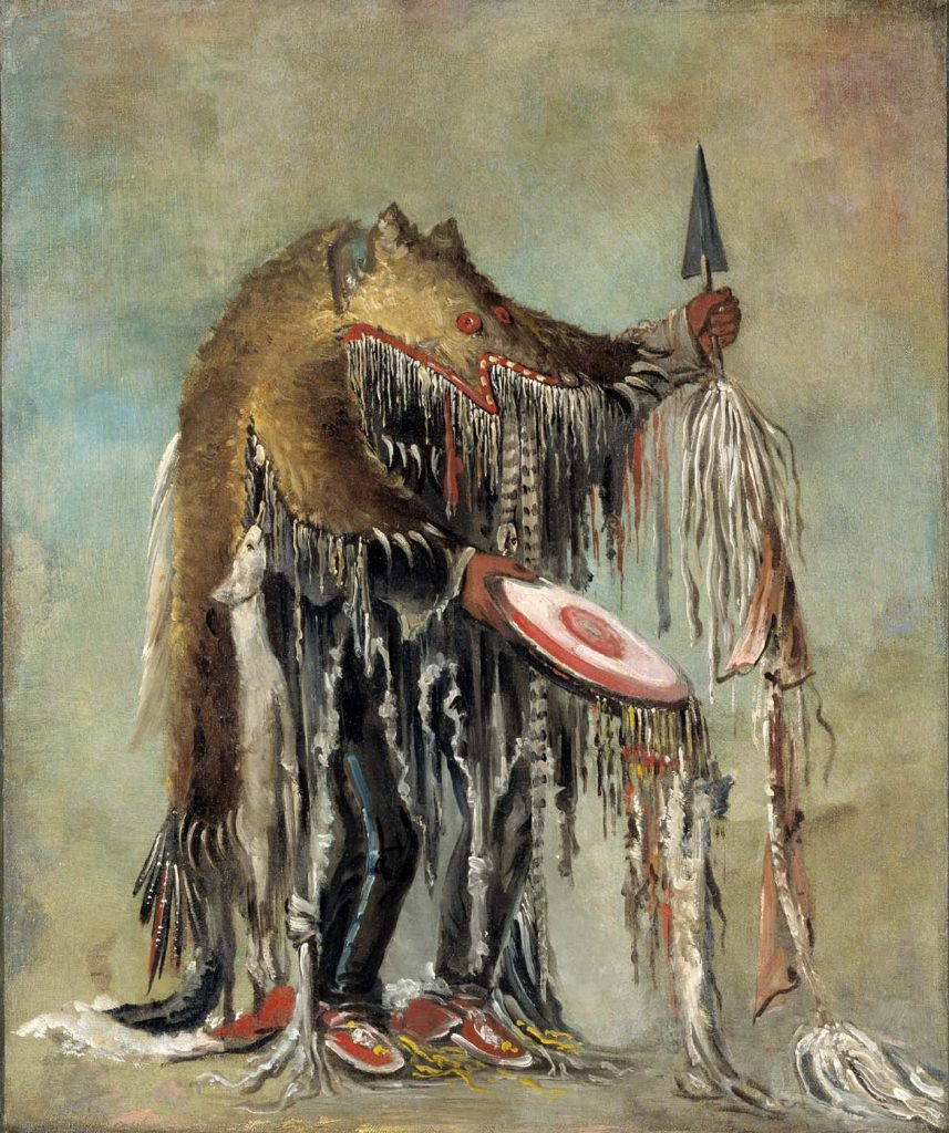 Medicine Man, Performing His Mysteries over a Dying Man, George Catlin