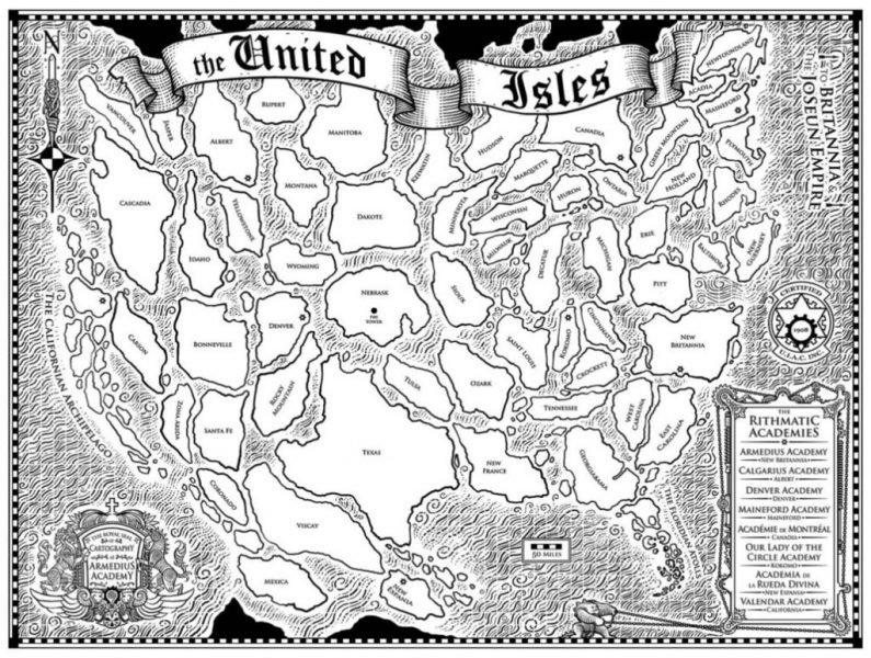 Isole Unite d'America mappa