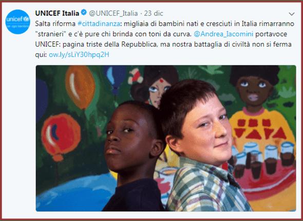 Unicef tweet Ius Soli
